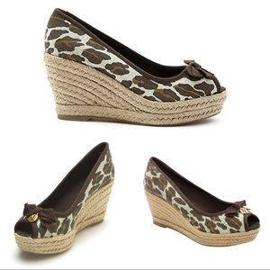 Tory Burch 75mm Jackie Wedge Espadrille Leopard